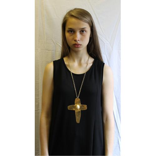 Ethnic Punk Gold Cabochon Cross Pendant