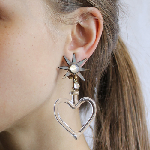 Set Star and Heart of Glass Drop Earrings