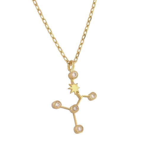 Gold Cancer Diamond Necklace