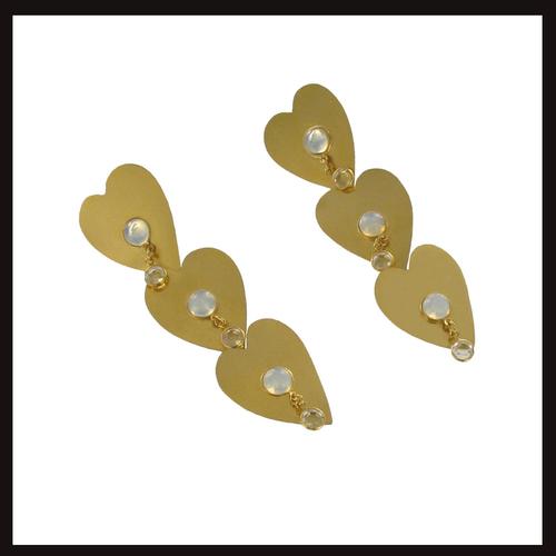 Triple Heart Drop Earrings