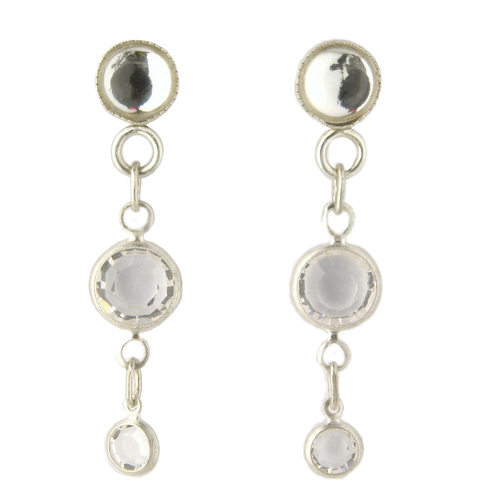 Paris Mirror and Double Crystal Drop Earrings
