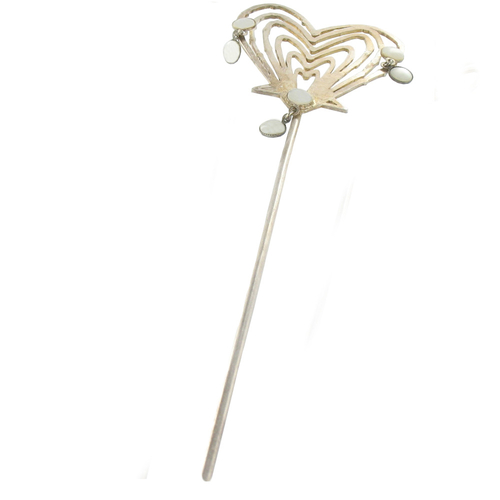 Six Heart Hairpin with Mother of Pearl