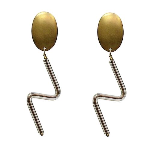 Oval Top Zig-Zag Glass Earrings