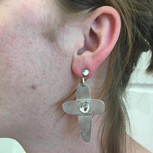 Ethnic Punk Crystal Cross Earrings