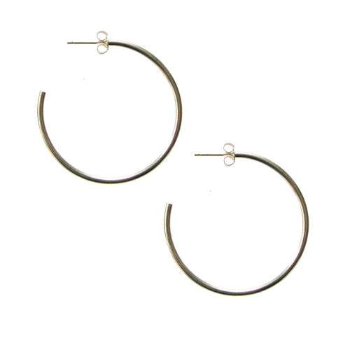 White Gold Large Fine Hoops
